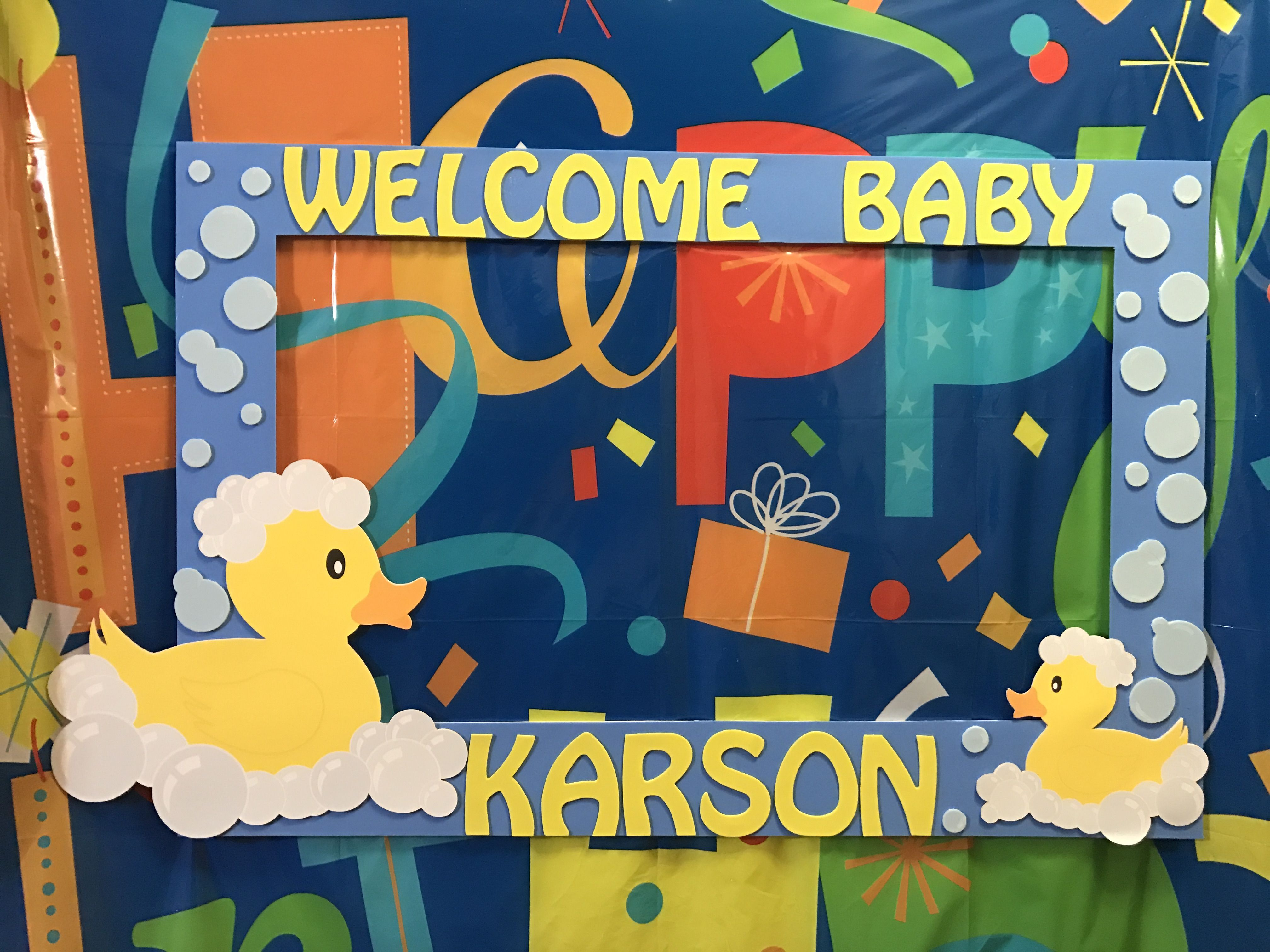 Rubber duck baby shower frame