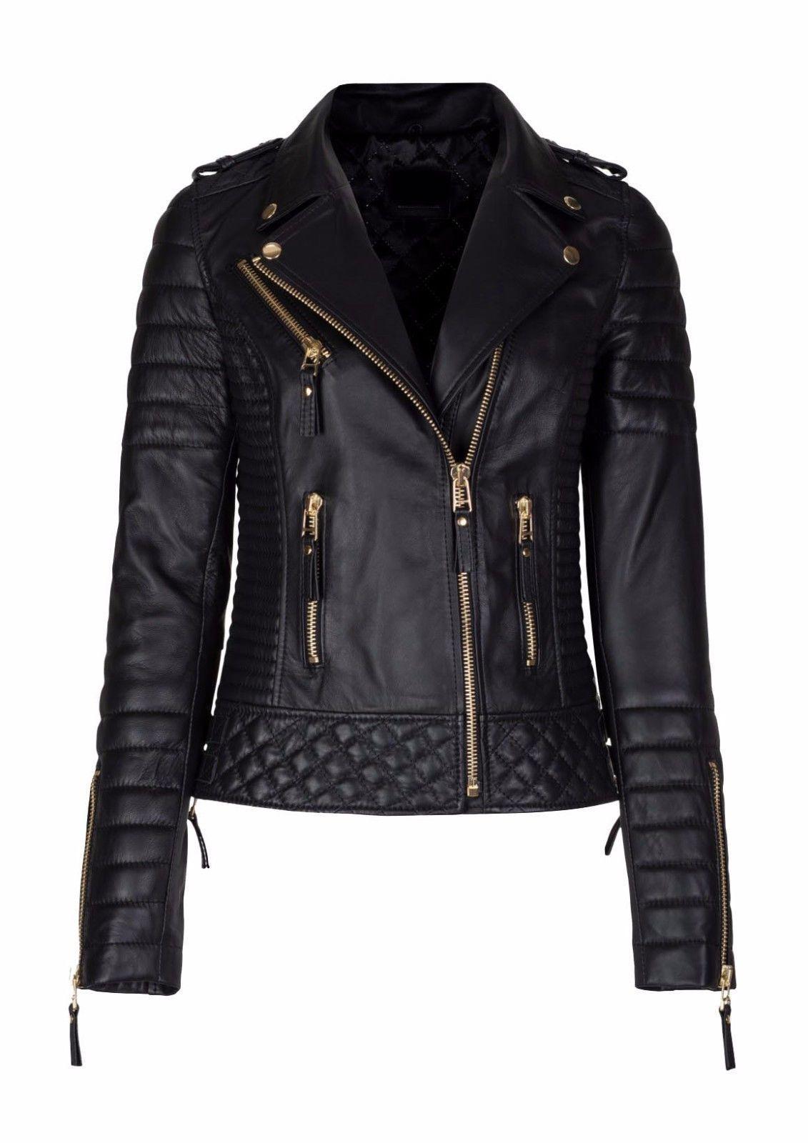 New Women/'s Genuine Lambskin soft Leather Motorcycle Slim fit Biker Jacket