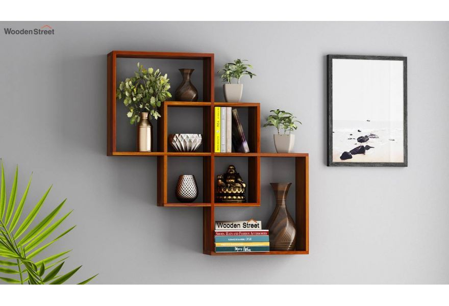 Buy Grizzo Wall Shelf Honey Finish Online In India Wooden Street