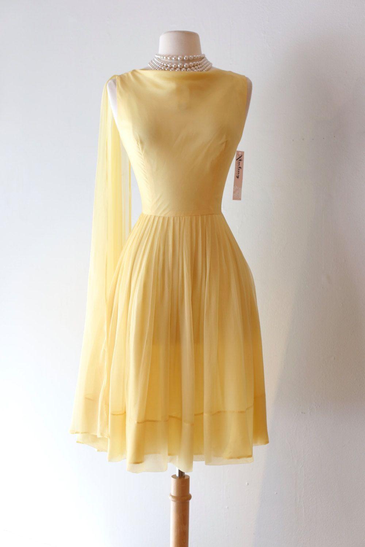 Vintage 1960\'s Lemon Chiffon Party Dress ~ Vintage 60s Pale Yellow ...