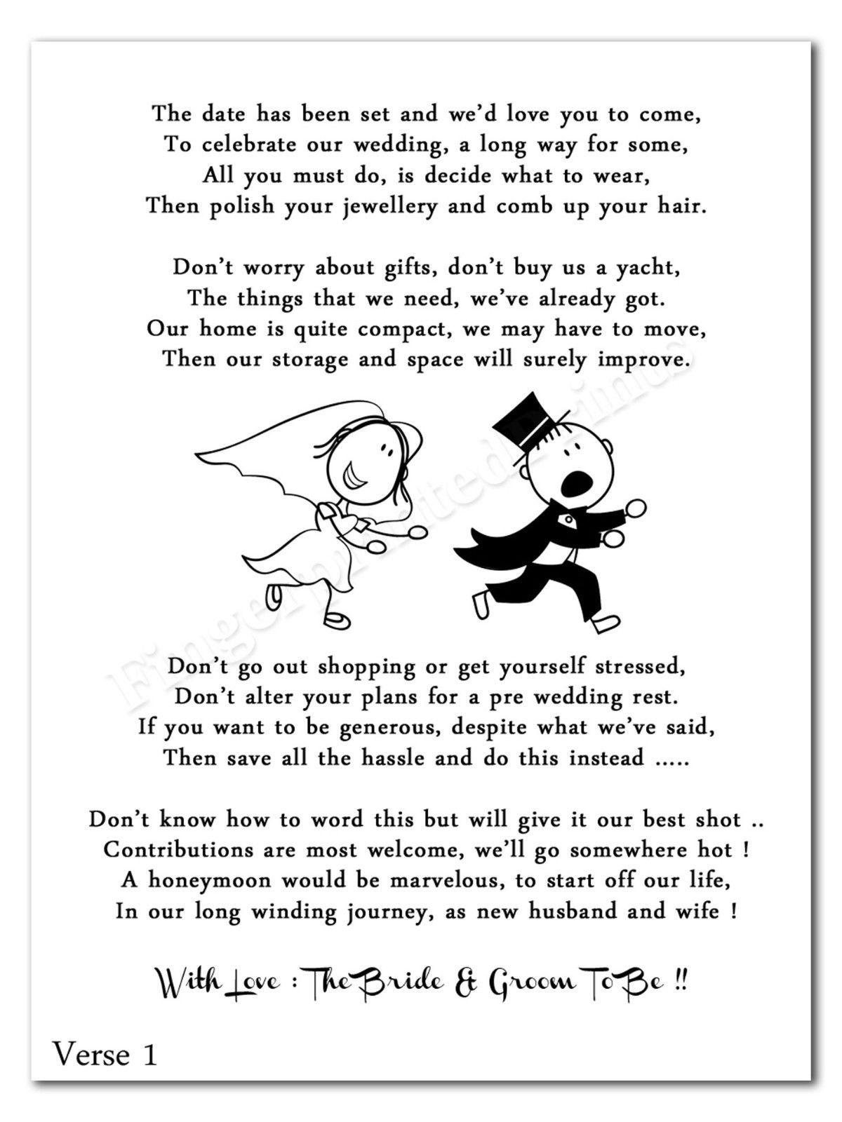 Wedding Cash Money Voucher Request Poems For Invites Cheap Funny Rg2 Design Funny Wedding Invitations Wedding Poems Wedding Gift Money