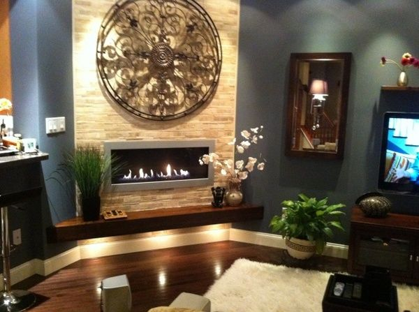 Zen Living Room  Back Splash On My Fireplace Wall!