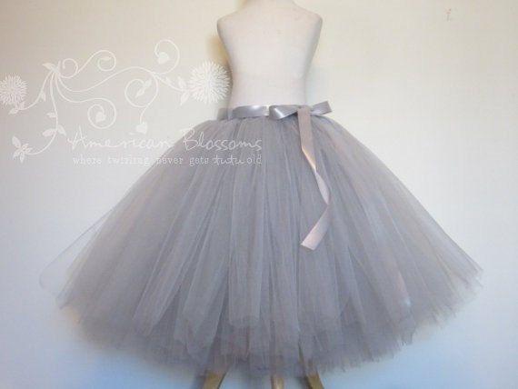 Gray bridesmaid gray tulle skirt tea length adult grey for Tea length wedding dress tulle skirt