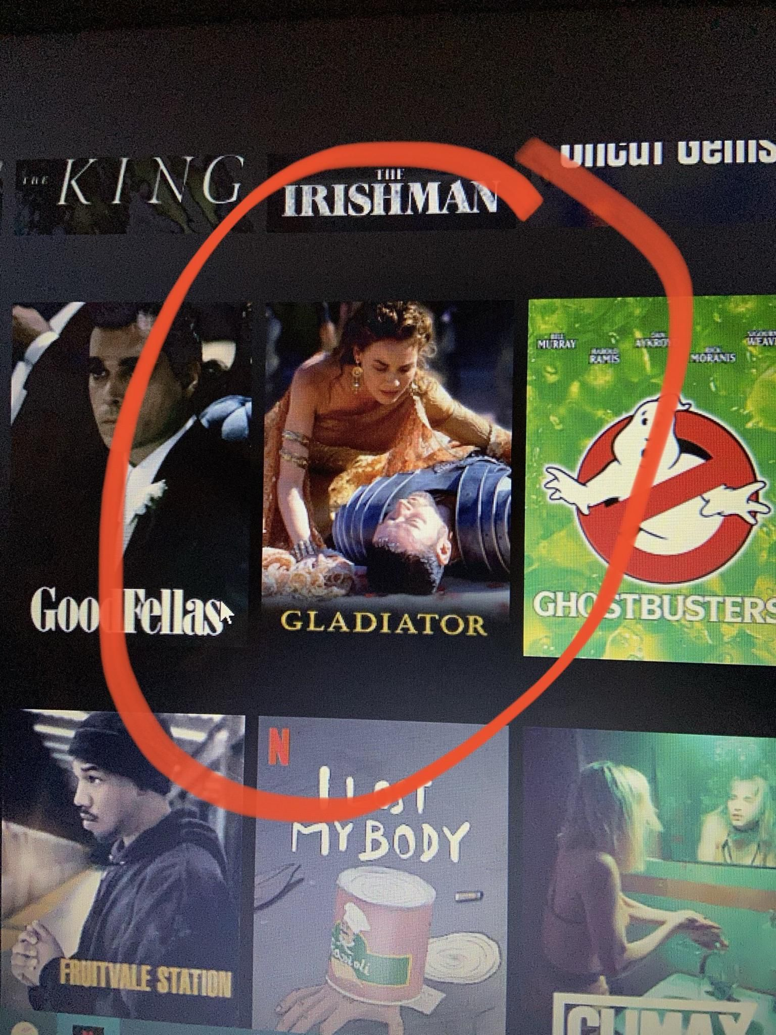 The Netflix thumbnail for Gladiator (2000) is a spoiler в