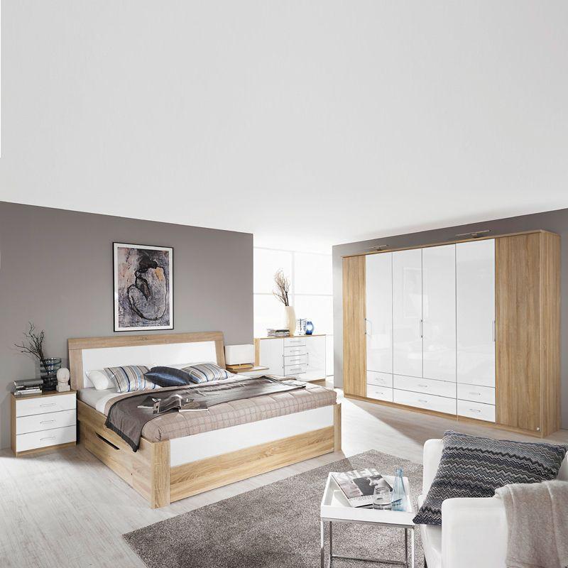 Schlafzimmer Set RINOA221 Eiche Sonoma Nachbildung, Hochglanz weiß - schlafzimmer komplett