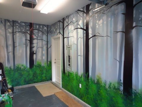 How To Paint A Misty Forest Mural Using Spray Paint Playlist Video Of A Garage Mural I Did A
