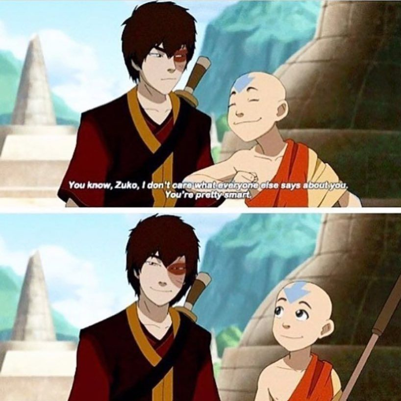 THAT SMILE!!! The only not biased person to ever complimenthim. His uncle and mother were family and actually loved him, of course they said nice things about him. But he had actively hunted Aang so Aang complimenting him really meant something!!! #avatarthelastairbender