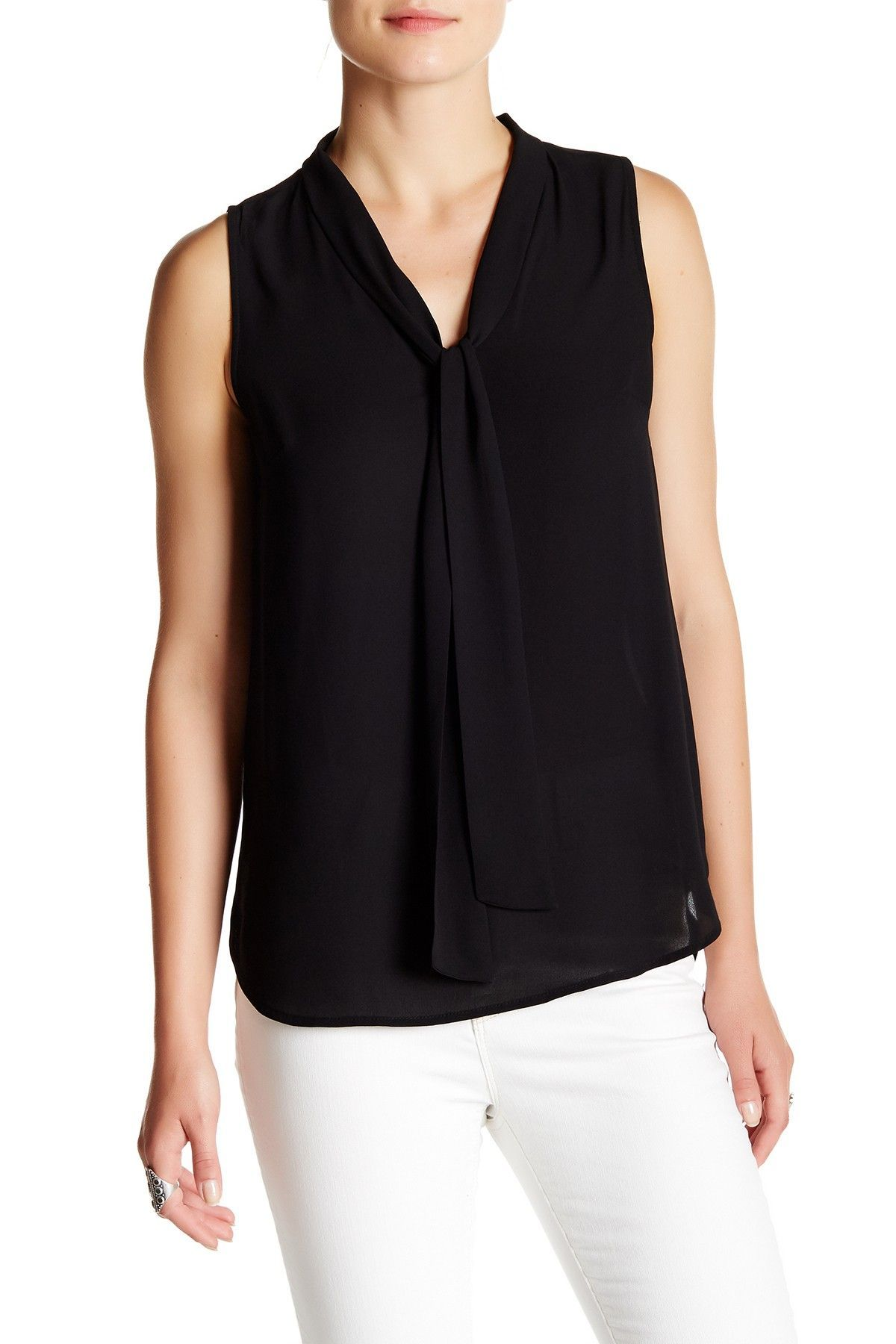 SUSINA Sleeveless Tie Neck Top at Nordstrom Rack Free Shipping