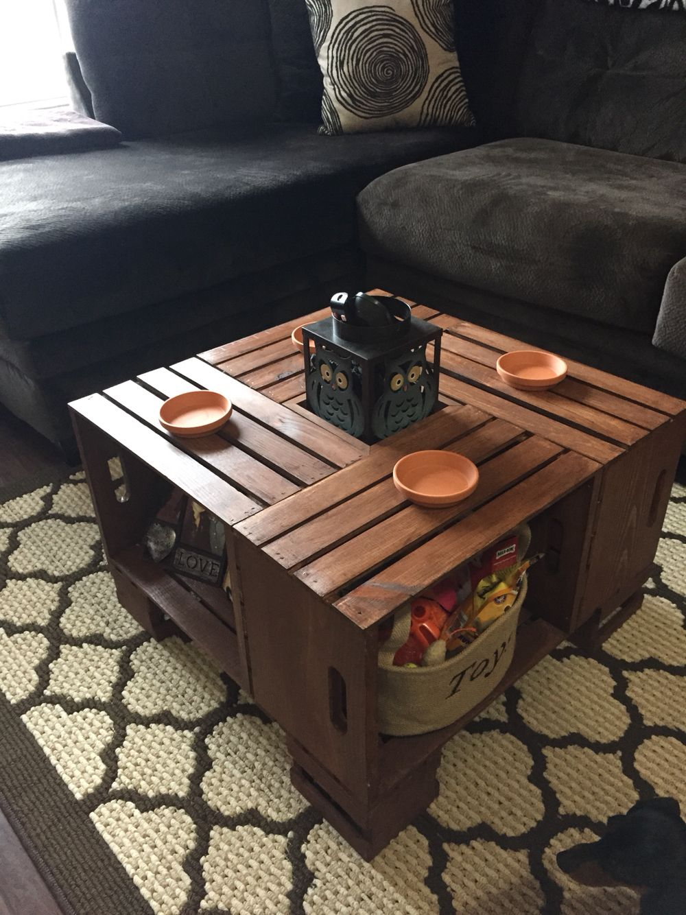 Crate Coffee Table With Clay Pot Holders As Cup