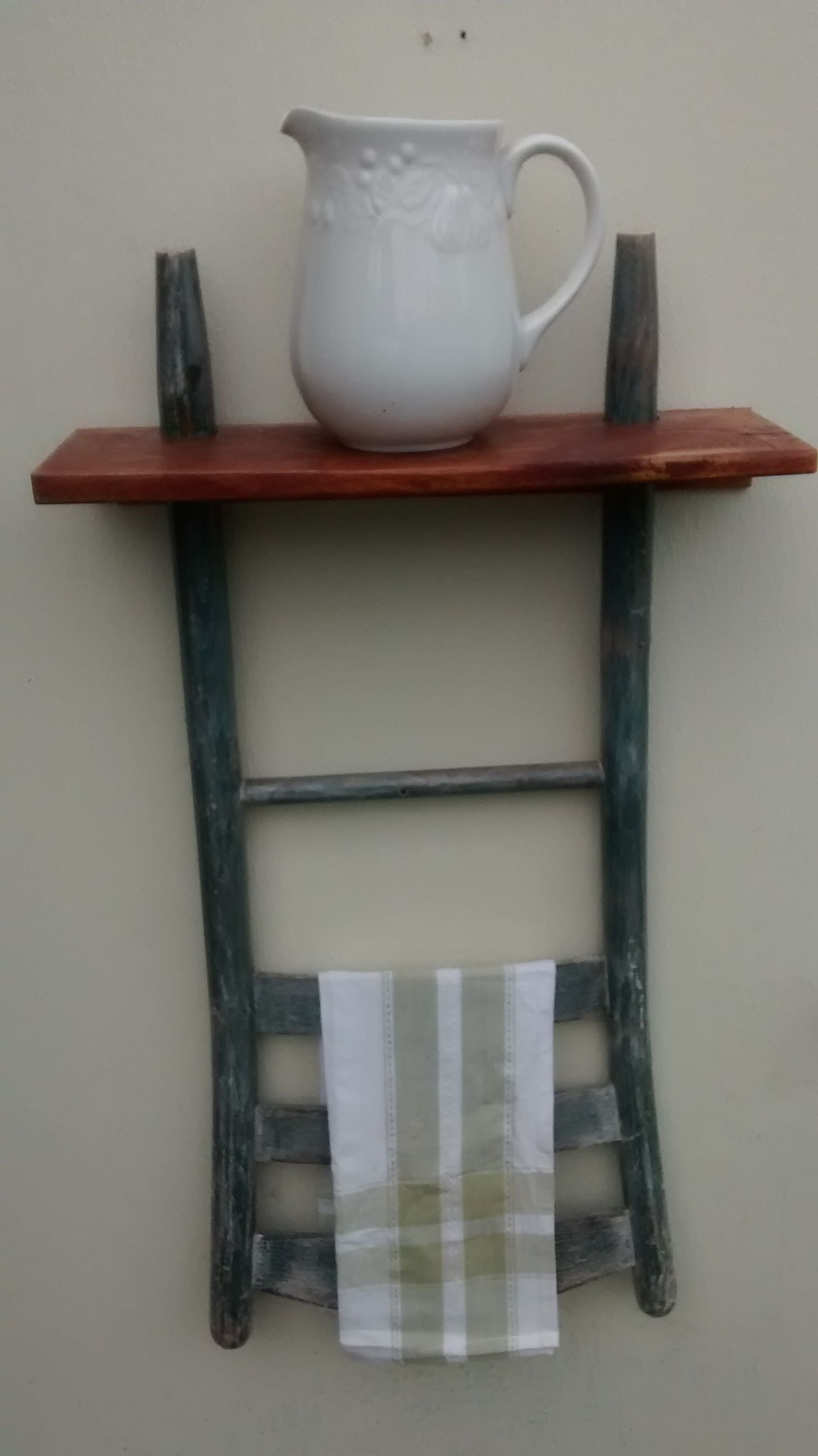 Ladder Back Chair Shelf W Reclaimed Cedar Board