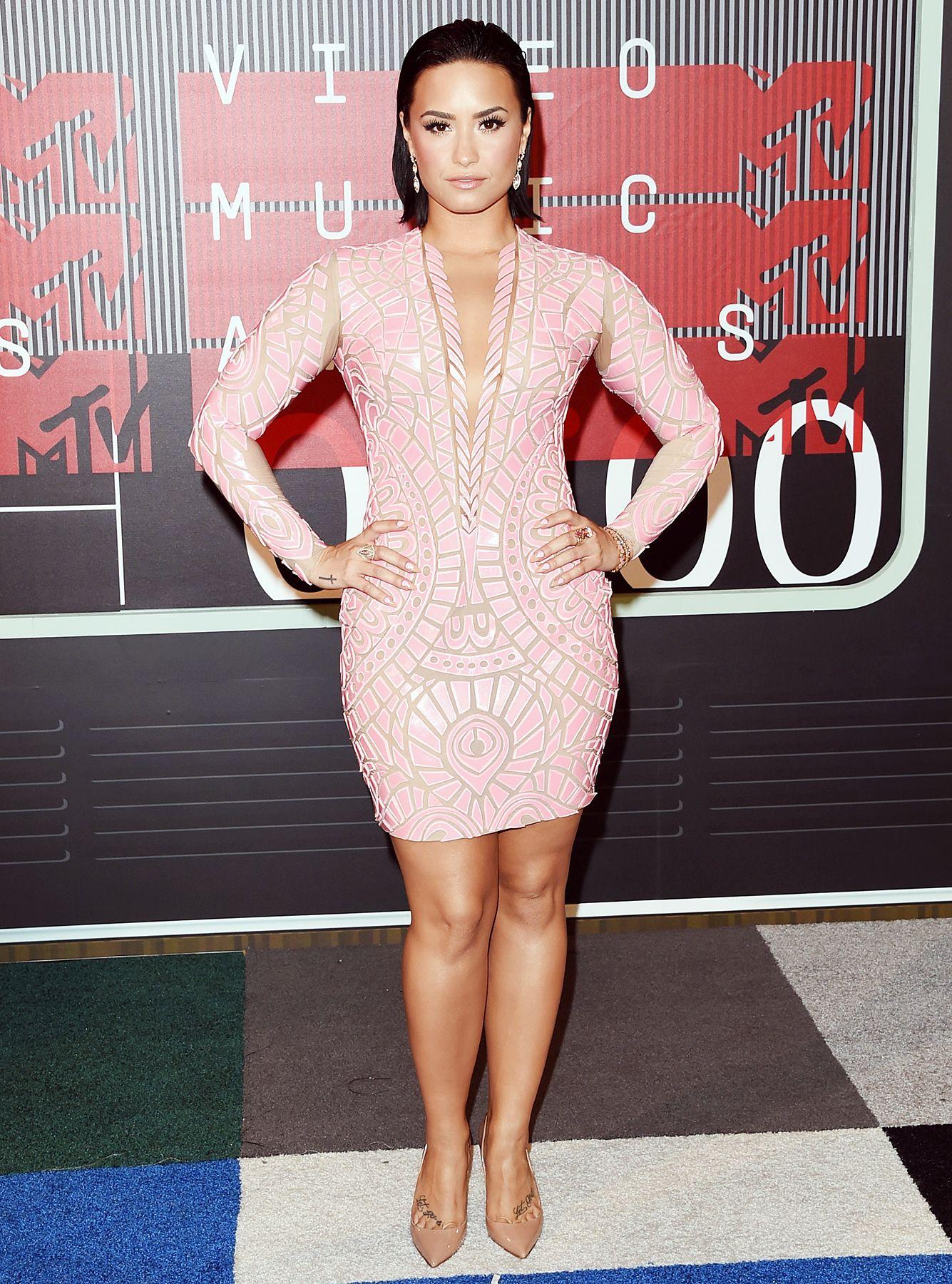 Demi Lovato Pink Dress January 2017