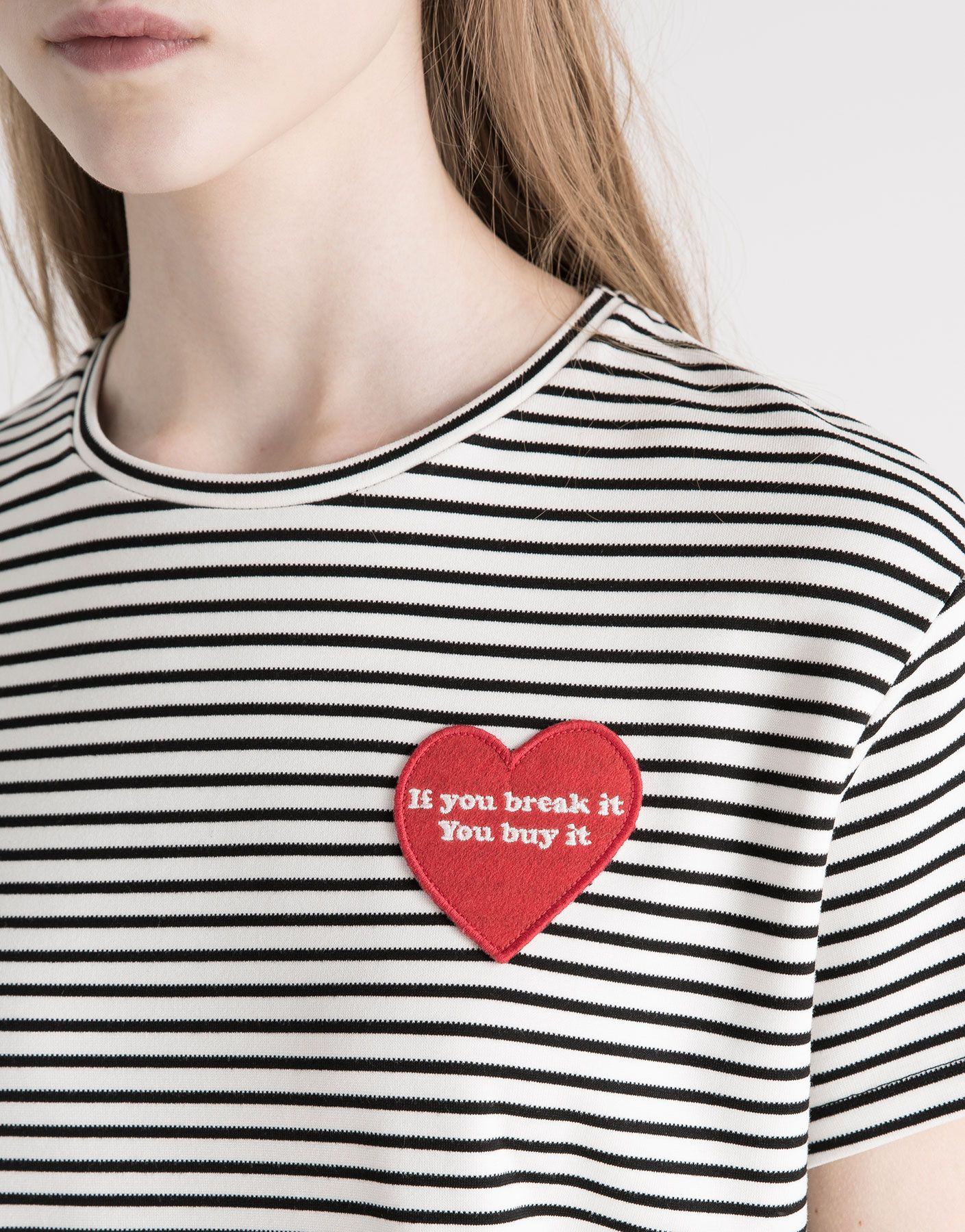 d9b45650b7b5 HEART PATCH T-SHIRT - T-SHIRTS   TOPS - WOMAN - PULL BEAR Turkey ...