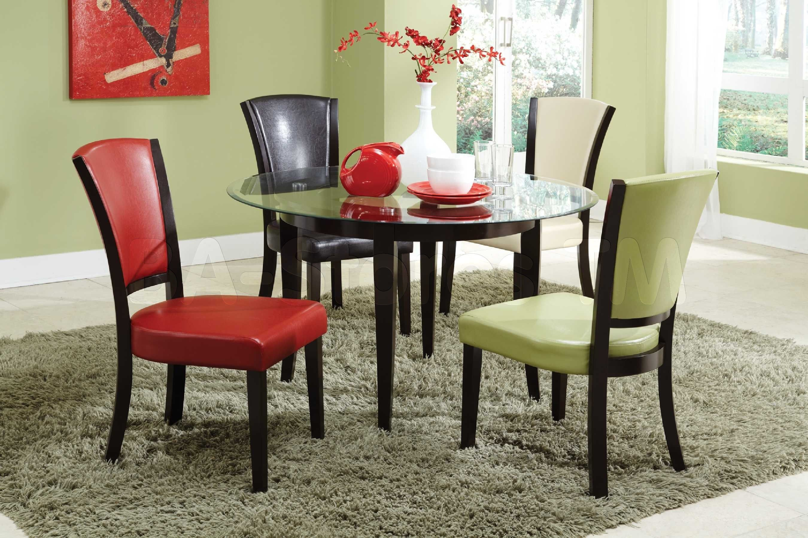 5 pc dining set four vinyl chairs and glass table