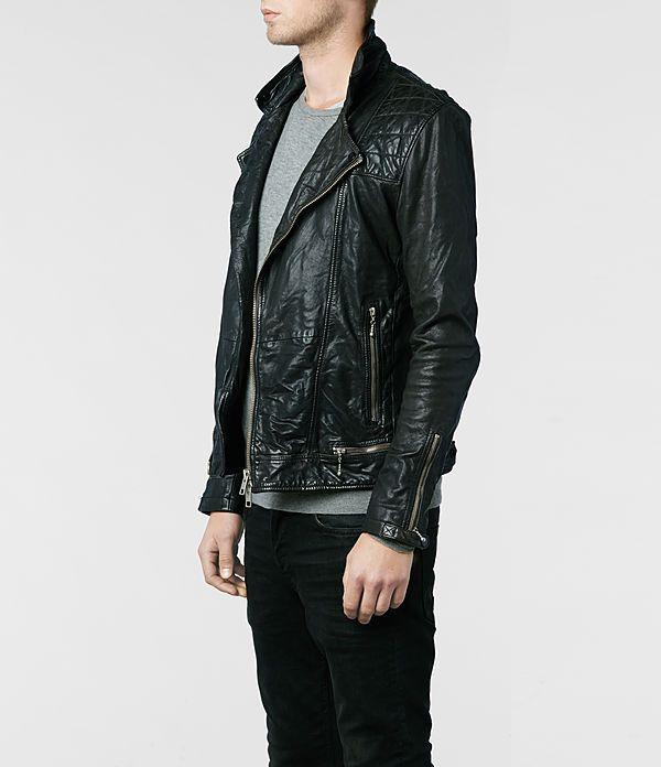 Allsaints Conroy Leather Biker Jacket Mens Leather Jackets