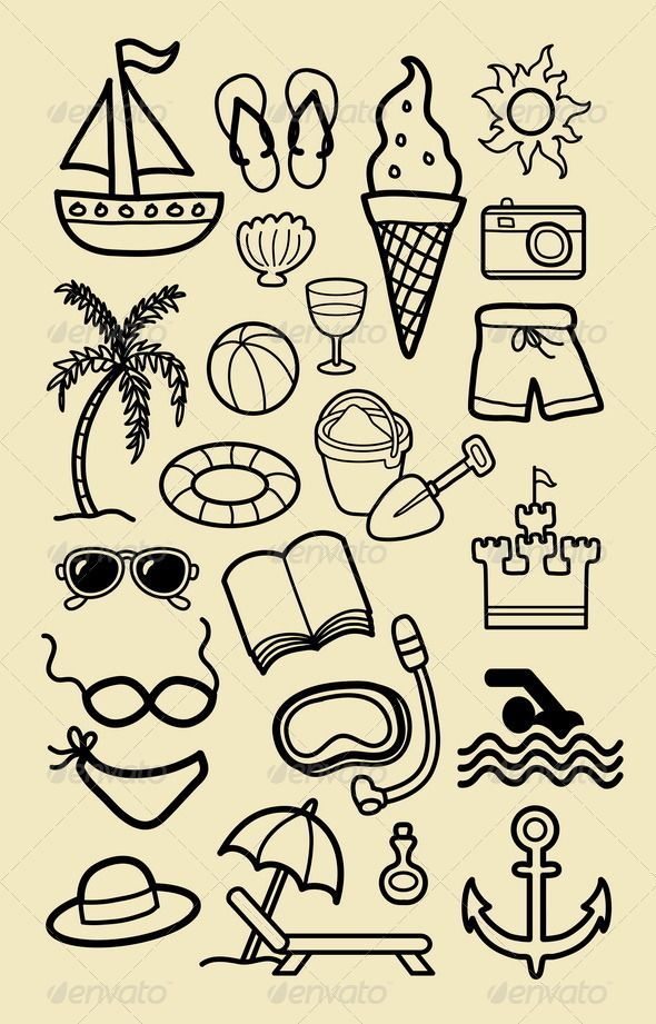 Draw Pattern Summer Beach Icon Sketches Graphicriver Nice