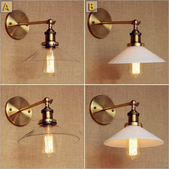 White Glass Vintage Retro Wall Lights Fixtures Wandlamp Rustic Style ...