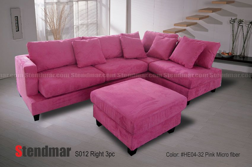 Welcome To Stendmar.com 3pc Modern Pink Microfiber Sectional Sofa S012PK