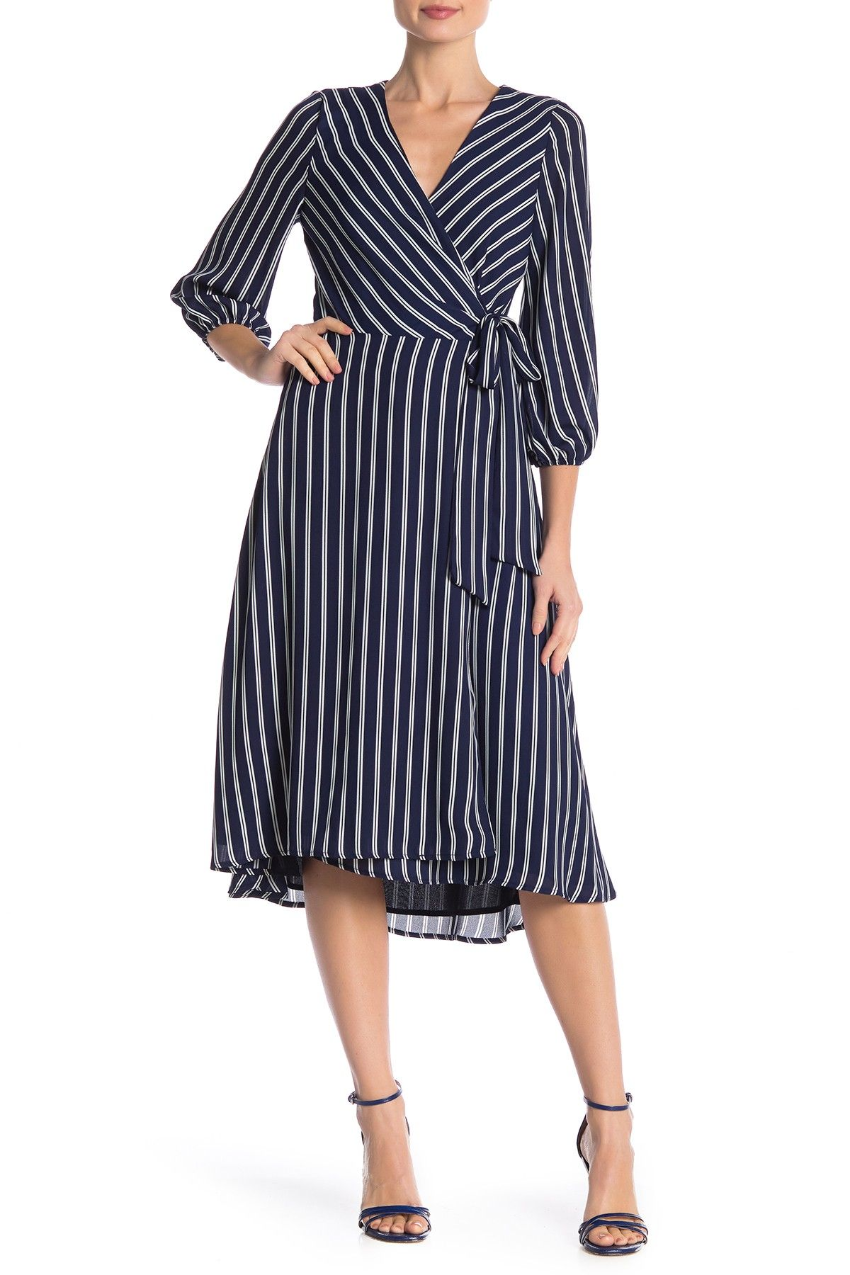 Striped 3 4 Sleeve Wrap Dress By S H E On Nordstrom Rack Wrap Dress Nordstrom Dresses Dresses [ 1800 x 1200 Pixel ]