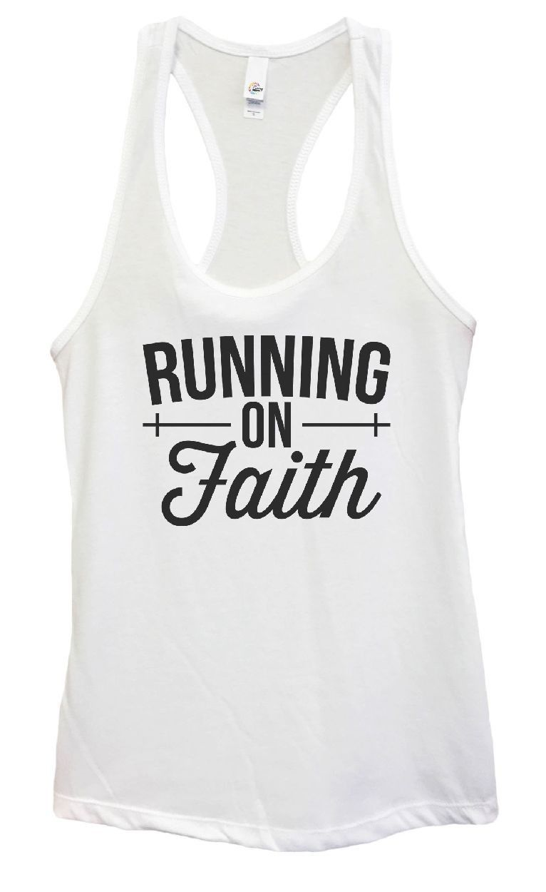 Womens Running On Faith Grapahic Design Fitted Tank Top