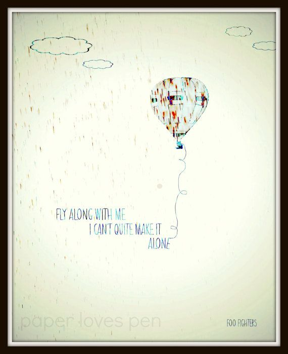 Foo Fighters Learn To Fly Lyric Art Song Quote 8x10 Typography