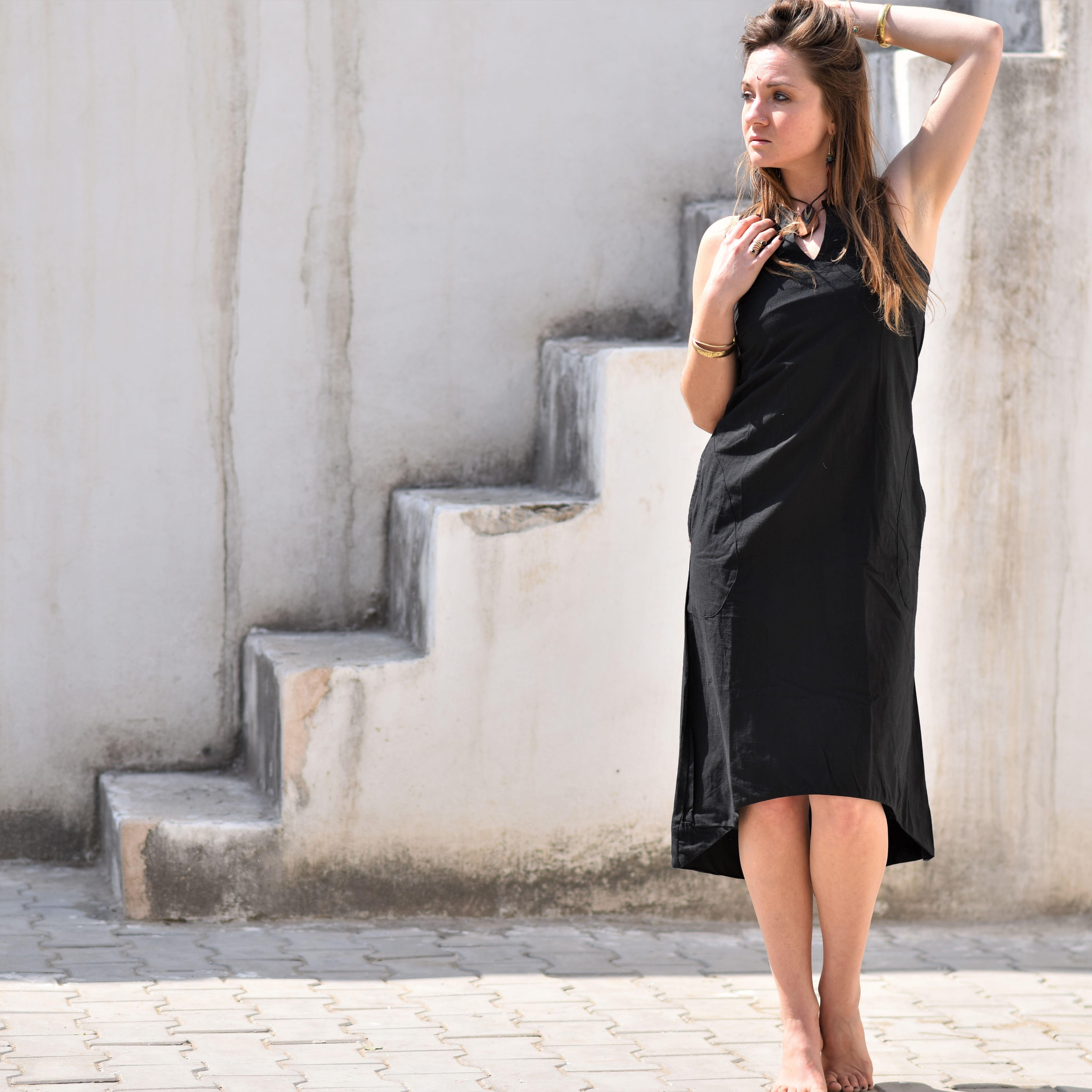 Black Summer Dress With Pockets Longer In The Back And A V Etsy Boho Style Outfits Summer Black Dress Black Boho Dress [ 6907 x 6907 Pixel ]