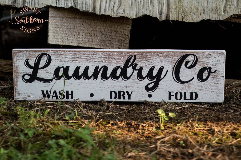 """""""Laundry Co"""" Frameless Wood Sign   Wood pallet projects ..."""