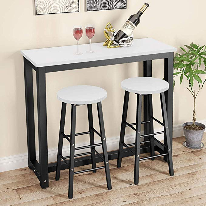 Amazon Com Tribesigns 3 Piece Pub Table Set Counter Height Dining Table Set With 2 Bar Stoo Pub Table Sets Kitchen Bar Table Counter Height Dining Table Set 3 piece counter height table set