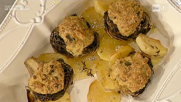 La ricetta dei carciofi ripieni e patate di Luisanna Messeri da La prova del cuoco