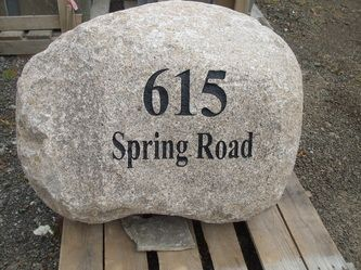 Large Engraved Boulder House Numbers Engraved In Stone