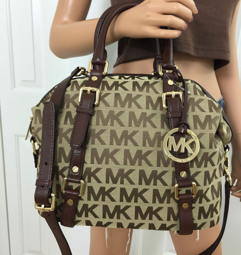 Michael Kors Khaki Brown Signature Medium Mocha MK Bedford