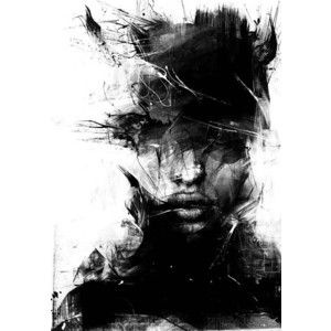abstract, art, black, black and white, drtwings, face - Polyvore ...