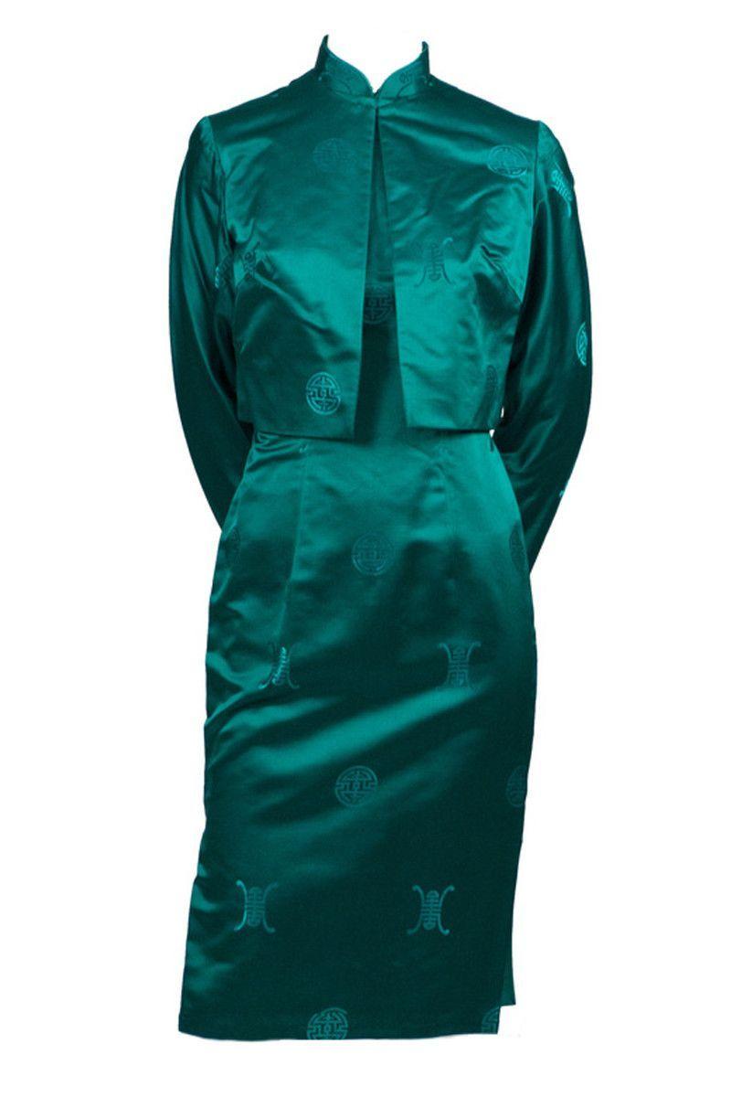 Gene Kristeller Vintage Cheongsam Asian Green Dress and Jacket