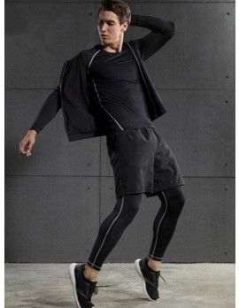 Men s Compression Sportswear Hoodie T-Shirt Shorts Leggings 4PCS Set ... e2a7e7e1b
