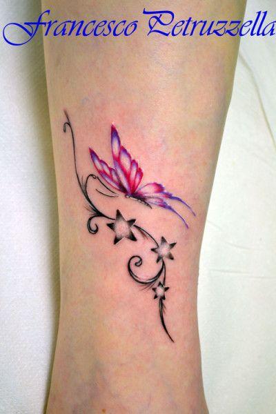 Tatuaggio art, body, caviglia, colori, farfalle, ricami ...