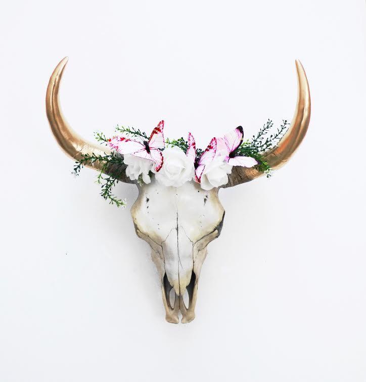 Cow Skull Roses Butterflies Medium Cow Skull Art Cow Skull Decor Deer Skull Art