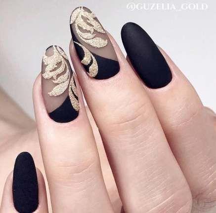 nails black and gold matte 57 ideas nails  oval nail art