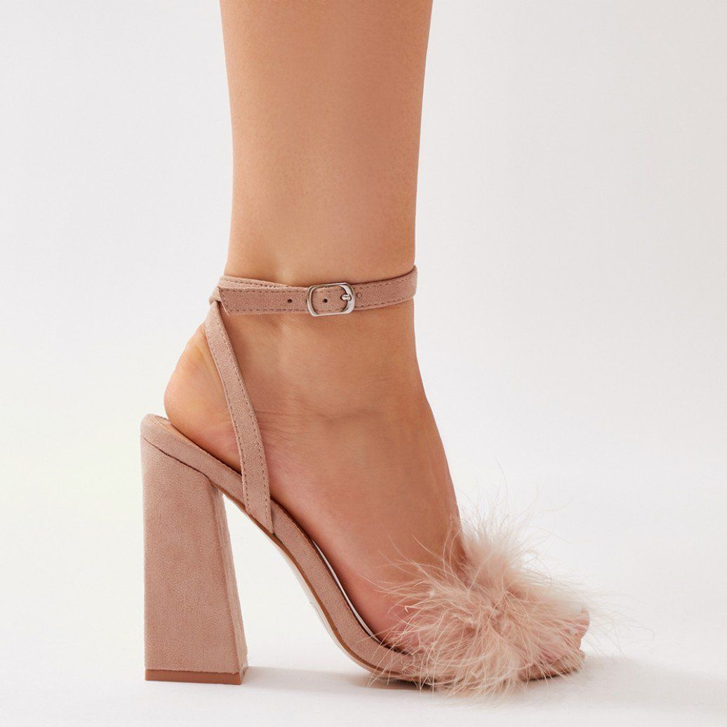 6f7a7026599 Mimi Feather Block Heels in Nude Faux Suede