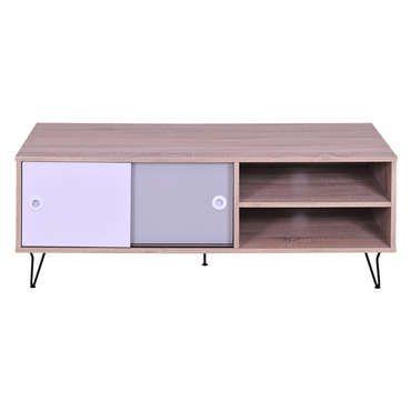 Meuble TV NOA coloris chêne, blanc et gris - pas cher ? C\u0027est sur