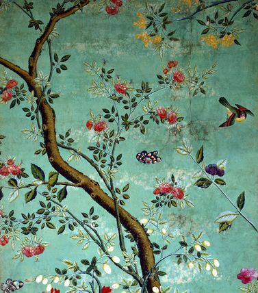 Wallpaper with flowering shrubs and fruit bees, on a pale green background. China, 18th century.