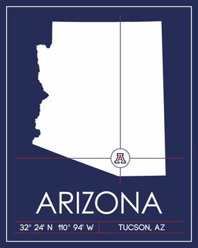 University Of Arizona Map Wall Art Picture At Arizona Wildcat Photos Arizona Map Map Wall Art University Of Arizona