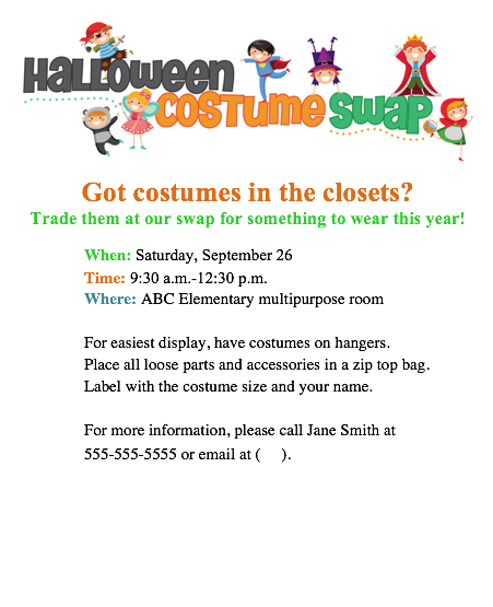try a halloween costume swap at your school  fun pto or