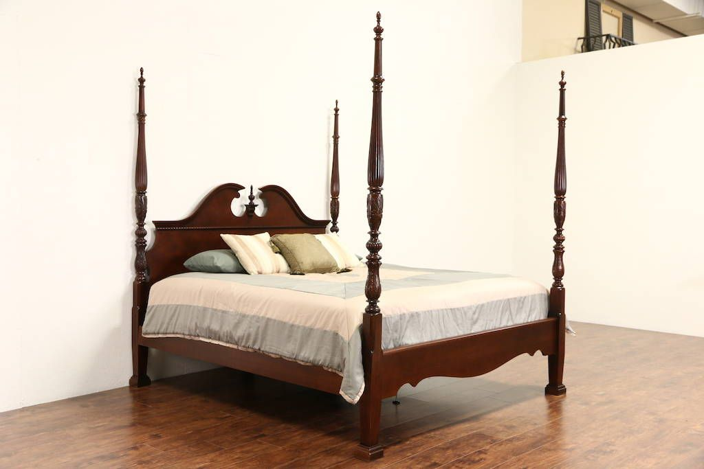 Best King Size Rice Plantation 4 Poster Bed Carved Mahogany 640 x 480