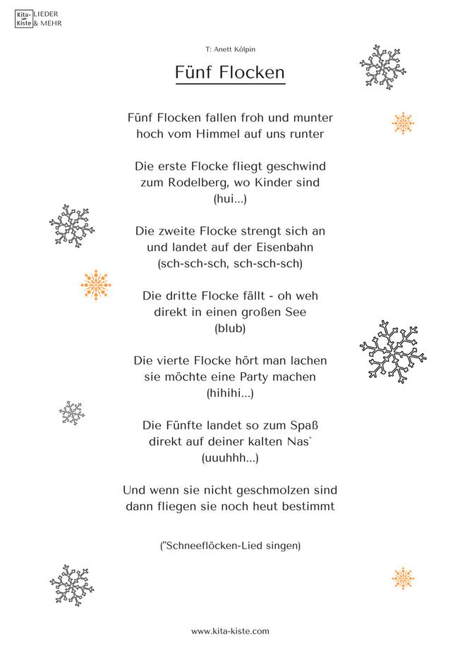 Fingerspiel Winter Schneeflocken Kita Kiste Gedichte Für