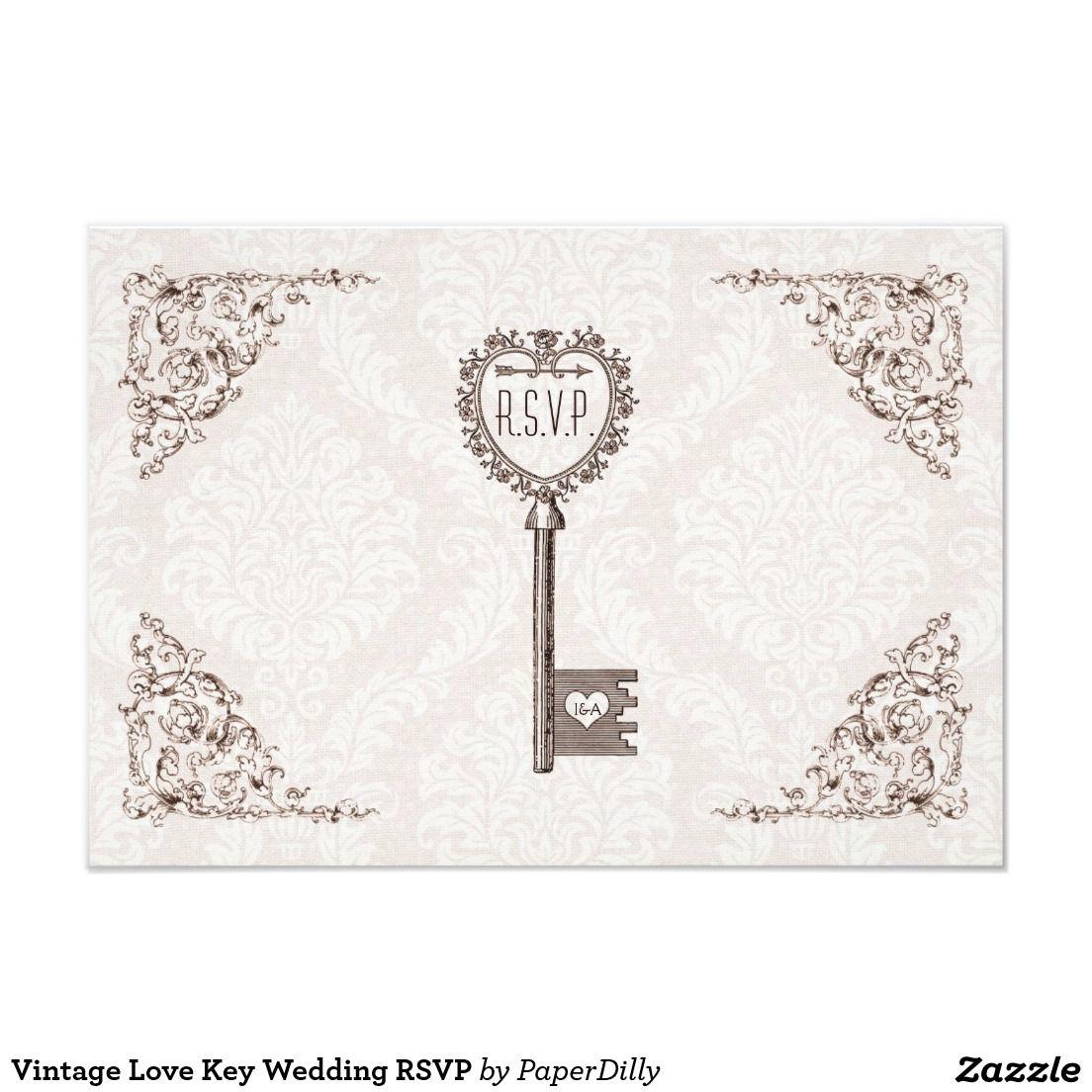 Vintage Love Key Wedding RSVP | Vintage Wedding Invitations ...