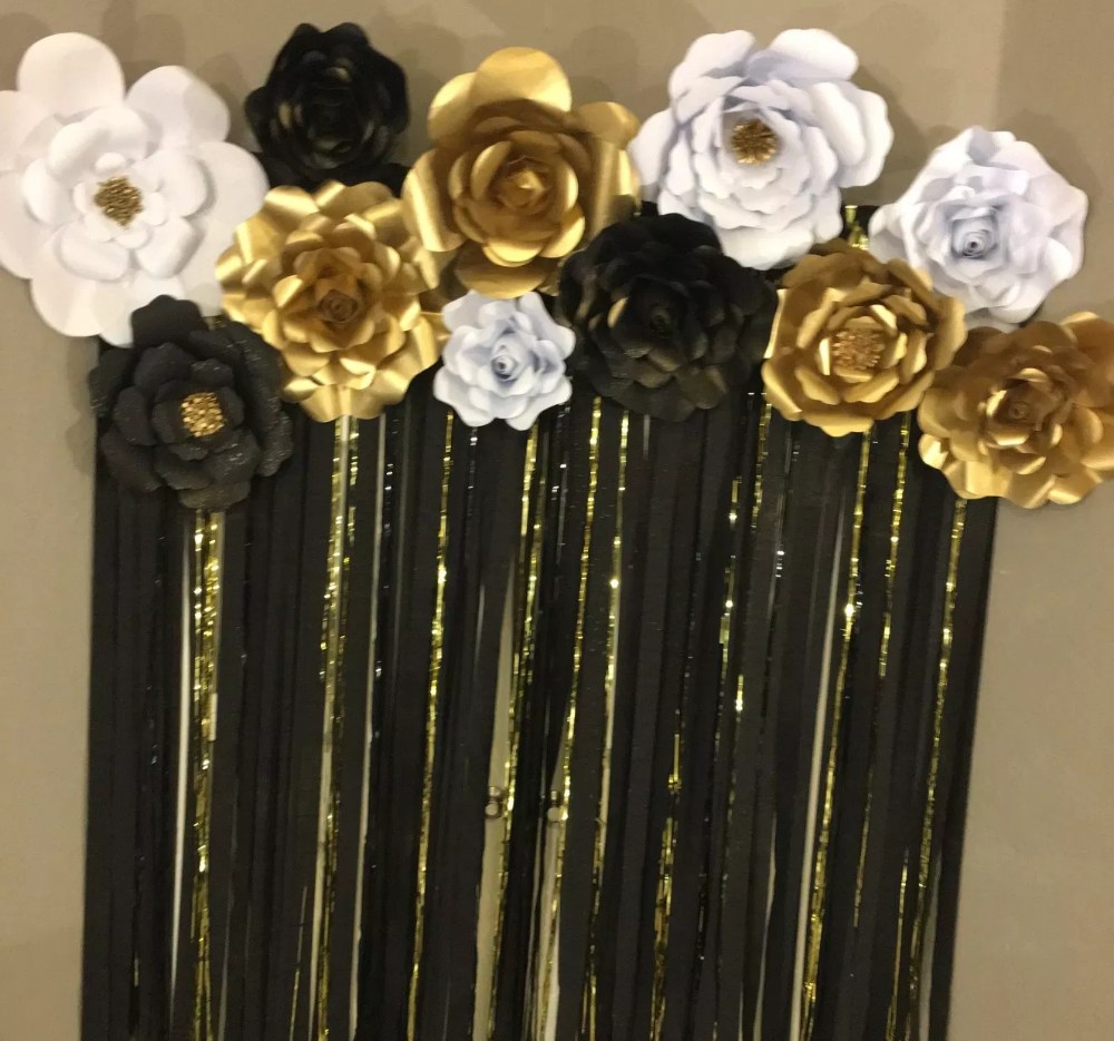 Paper Flower Backdrop Black White And Gold Creativity Made