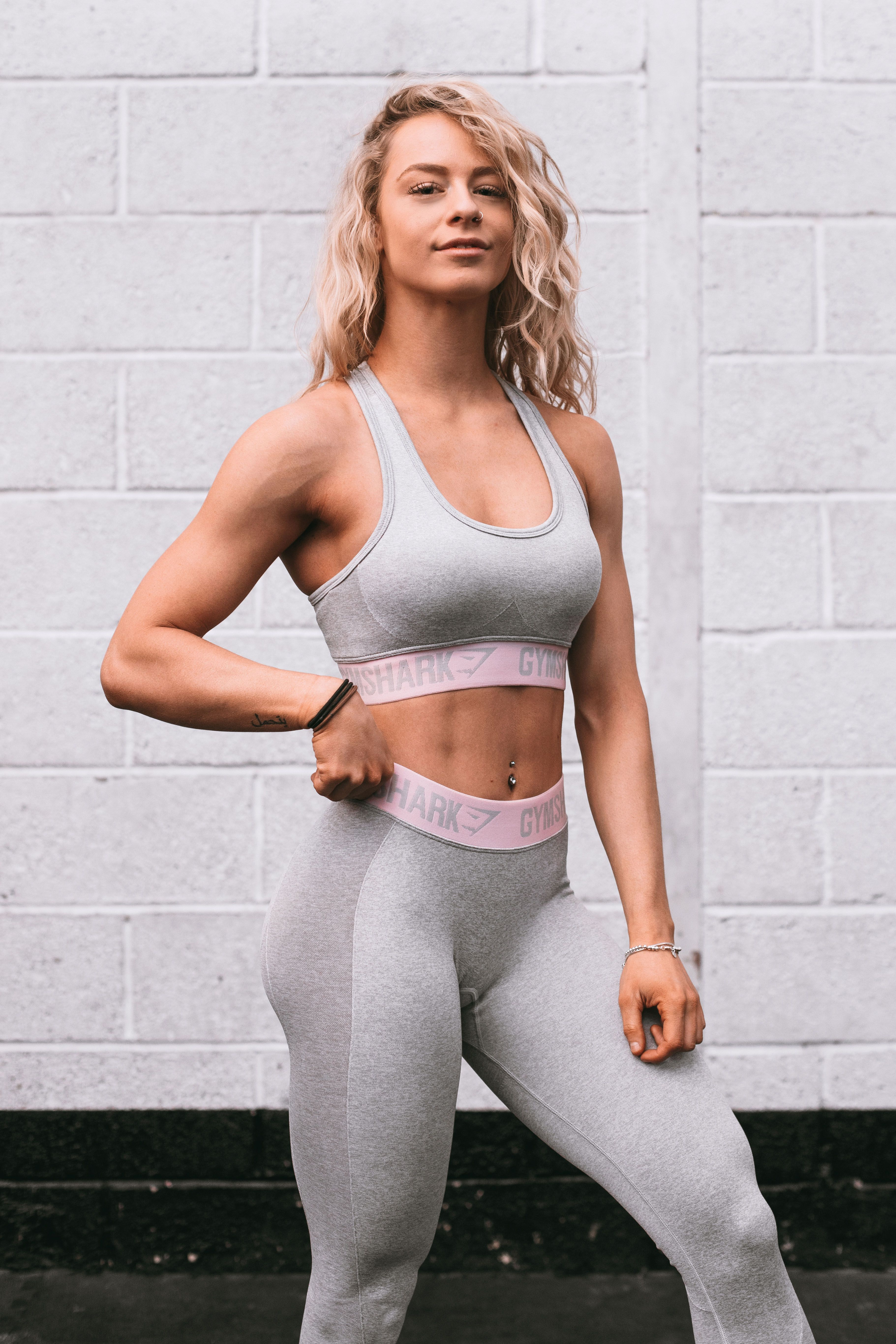 fe4ec9d57c Gymshark Athlete Becca Sills styles the Flex collection in Light Grey Marl  and Chalk Pink