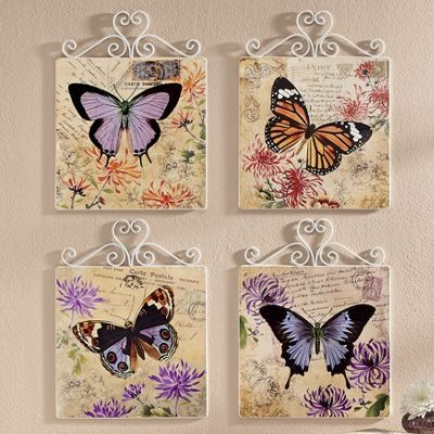 4 Piece Butterfly Wall Plaque Set In 2020 Butterfly Decorations Butterfly Wall Butterfly Room