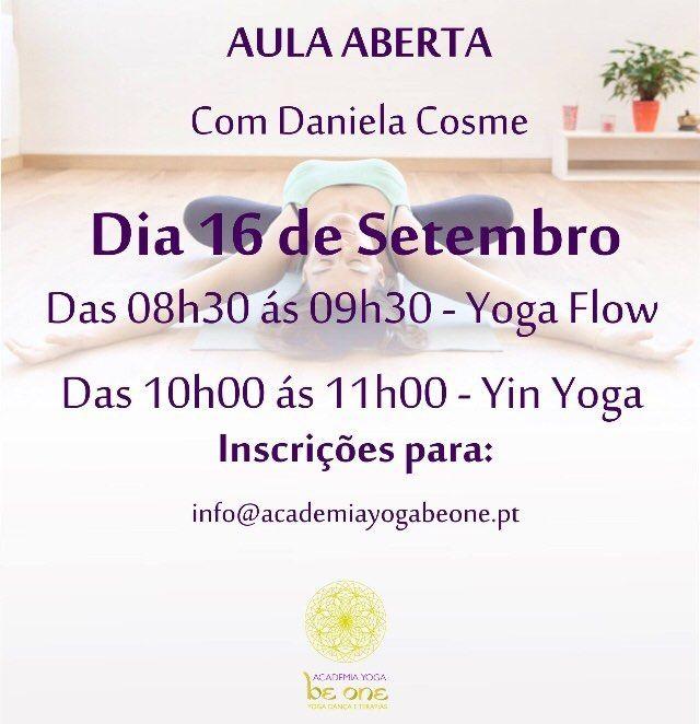 No dia 16 de Outubro teremos duas aulas abertas, ás 8h30 de Yoga flow e 10h de Yin Yoga, com a Profe...