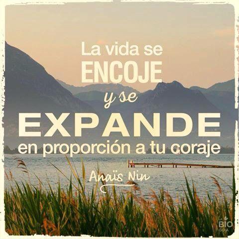 〽️ La vida se Encoge y se Expande en proporción a tu coraje. Anais Nin