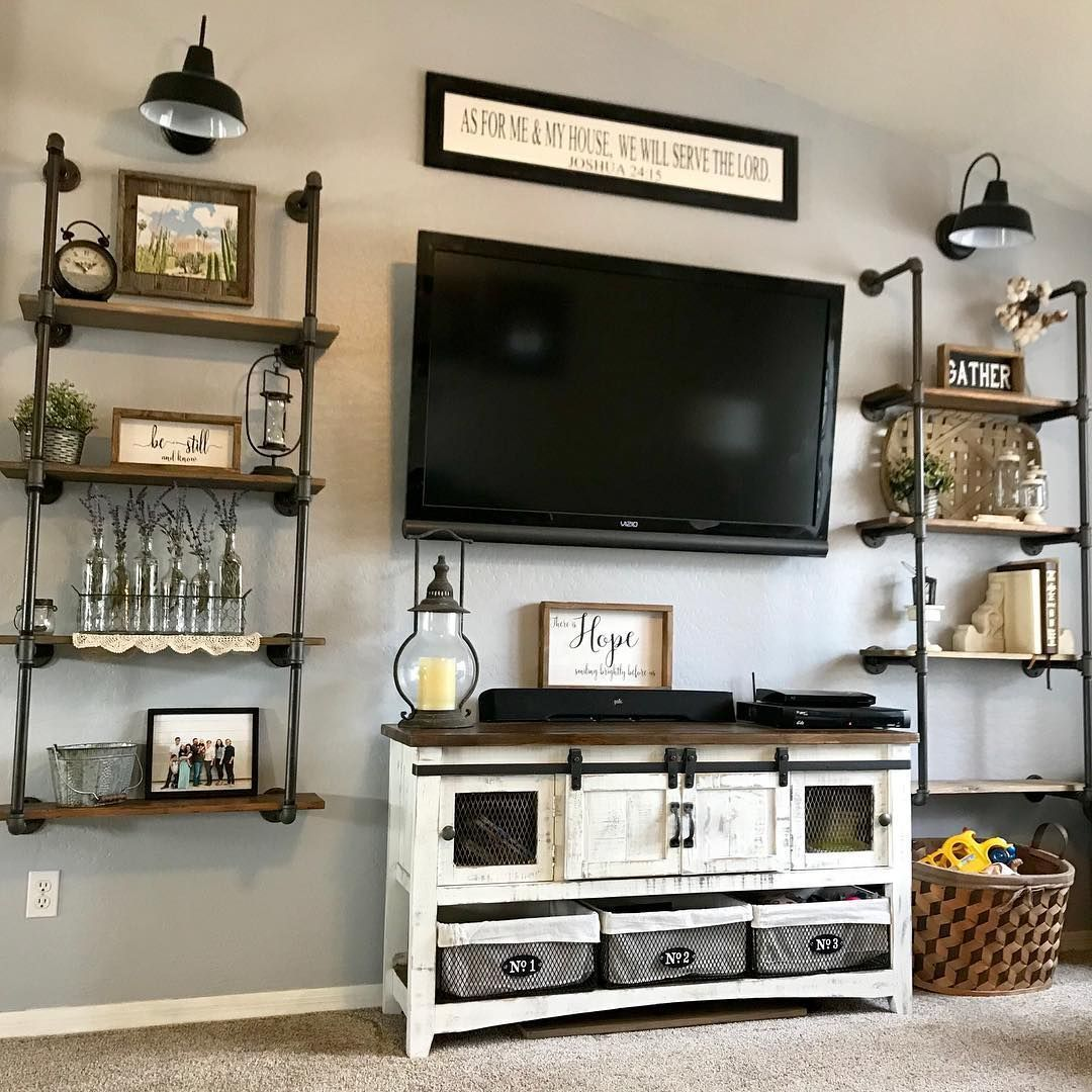 We Love Clean Organized Living Rooms We Know That Life Gets Hectic At Times In 2020 Industrial Decor Living Room Farm House Living Room Rustic Industrial Living Room #organized #living #room #ideas